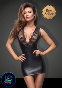 Black-Power-wetlook-minidress-with-lace-cleavage