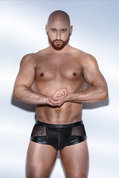 Black-Powerwetlook-Shorts-with-tulle-and-Eco-leather-lacing